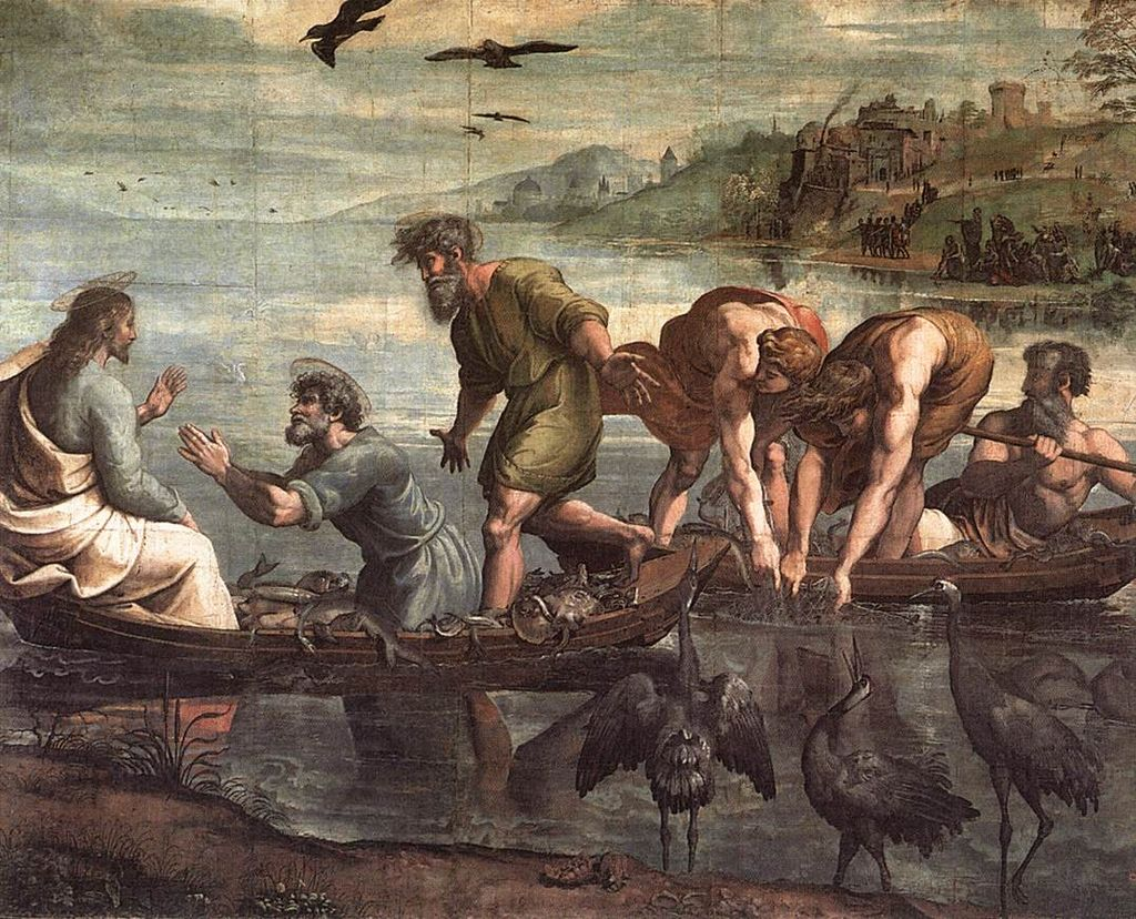 Painting of Jesus and the disciples and the miraculous catch of fish
